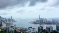 Panoramic skyline,modern buildings of hong kong.time lapse.