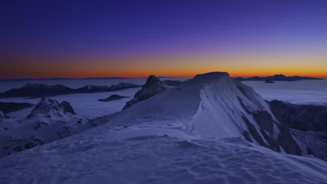 PAN Panoramic sunset from the mountain top