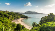 Panoramic timelapse of small beautiful tropical beach with rocks  at the Phuket Island, Thailand. January, 2016.