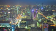 Panoramic view Cityscape business district from aerial view high building at dusk (Bangkok, Thailand)