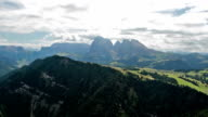 Panoramic view from Bullaccia of Platkofel and Ortisei
