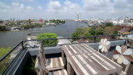 Panoramic view from restaurant over Chao Phraya River and skyline of Bangkok