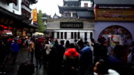 Panoramic view of customers wander in the famous Chenghuang Miao Old Street,Shanghai, China