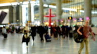 Panoramic view of Traveler Crowd at Airport Check In Counter Hall