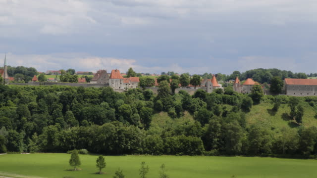 Panoramic view on Burghausen Castle in summer on a sunny day, Burghausen, Germany