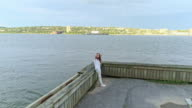 Panoramablick in Yonkers, New York Zustand, über den Hudson River. Luftbild-Drohne Video.
