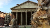 Pantheon Fountain in Rome, panoramica video