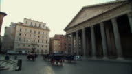 WS PAN Pantheon with horse-drawn carriages in foreground / Rome, Italy