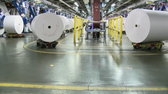 MS TU Paper rolls on trolleys at printing press, San Francisco, California, USA / AUDIO