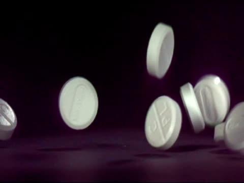 SLOMO CU paracetamol pills falling on to surface