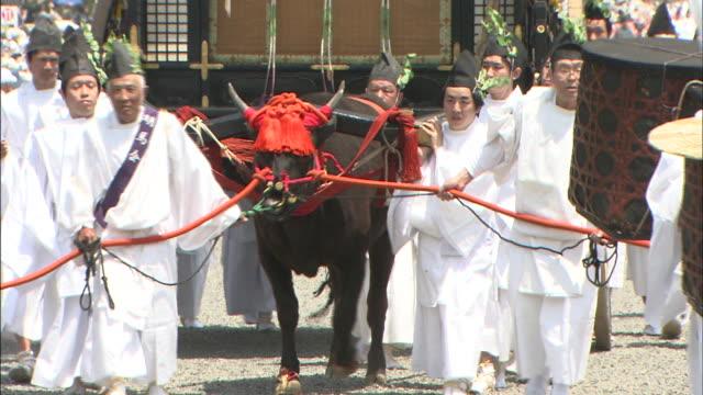 Parade participants lead an ox-drawn cart.