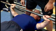 Paralympians prepare for 2012 Olympics at special camp in Bath Johnson interview SOT Adam Alderman lifting weights Alderman with GRAPHIC of personal...