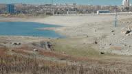 Parched reservoir during very hot summer in Simferopol, Crimea, Ukraine