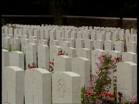 LIB FRANCE Somme TGVs over mass war graves LIB Headstone with inscription 'shot at dawn'