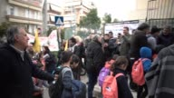 Parents students and local authorities warmly welcomed 27 refugee children at the 15th Public Elementary School of Nikaia Athens suburb in Greece /...