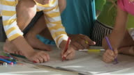 CU PAN TU TD Parents with children (4-7) in kitchen doing drawing / Cape Town South Africa / Cape Town South Africa