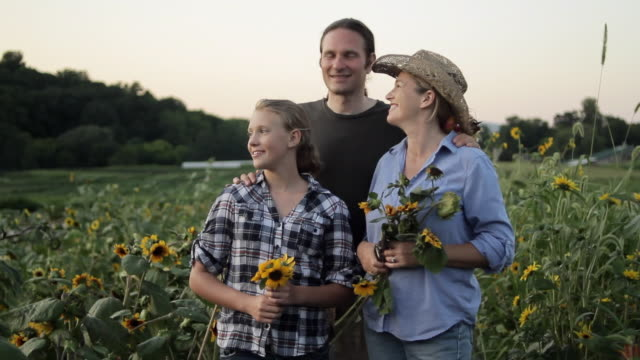 MS TU TD Parents with daughter (12-13)  in sunflower field / Lebonan Township, New Jersey, USA