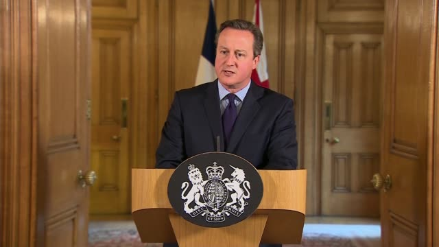 David Cameron statement ENGLAND London 10 Downing Street INT David Cameron MP press confernece statement SOT The events in Paris are the worst acts...