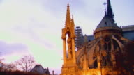 Paris, FranceMother and Child statue on Notre Dame, fast zooms