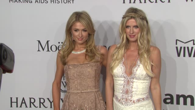 Paris Hilton and Nicky Hilton at amfAR to Honor Harvey Weinstein at Annual New York Gala at Cipriani Wall Street on February 10 2016 in New York City