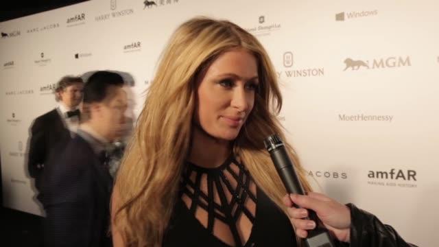 INTERVIEW Paris Hilton on amfAR at 2015 amfAR Hong Kong gala at Shaw Studios on March 14 2015 in Hong Kong