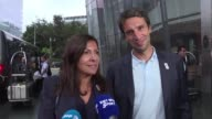Paris Mayor Anne Hidalgo and Paris 2024 Bid Co Chair Tony Estanguet arrive in Lima for a session of the International Olympic Committee that should...
