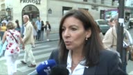 Paris Mayor Anne Hidalgo reacts to the IOC recommendation that hosting rights for the 2024 and 2028 Olympics be awarded together virtually assuring...