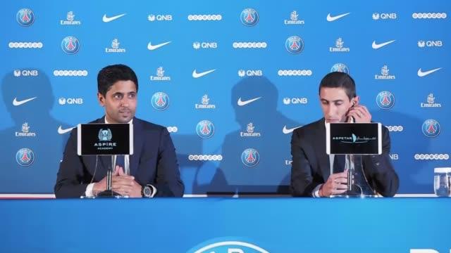 Paris SaintGermain's new Argentinian midfielder Angel Di Maria and Paris SaintGermain's Qatari president Nasser AlKhelaifi hold a press conference...