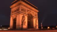 ParisArc of Triumph at night in Paris France