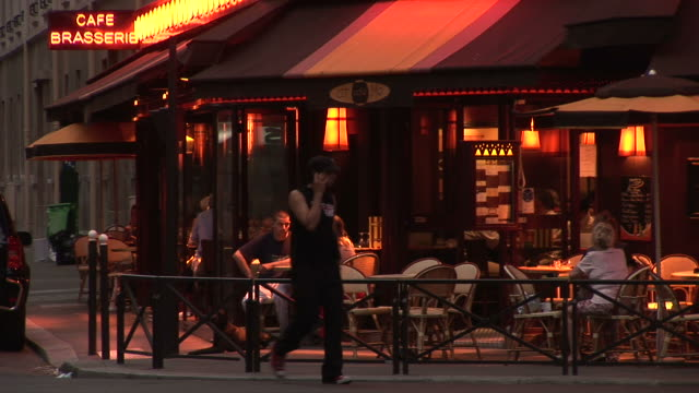 ParisView of a Coffee shop at magic hour in Paris France