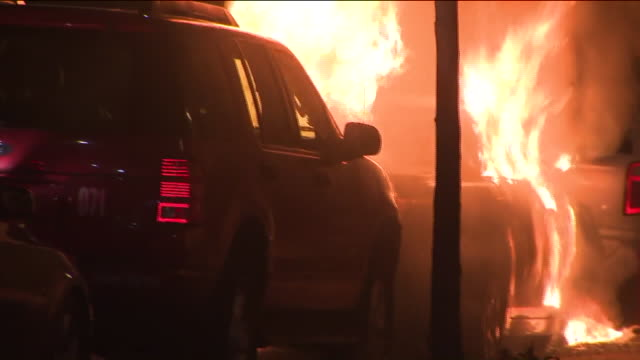 WPIX Parked Car on Fire at Night in New York City on Nov 14 2017