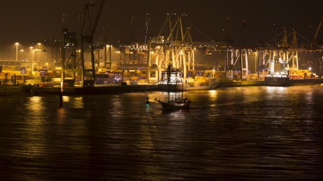 Parkhafen at night opposite Docklands Hamburg, Germany