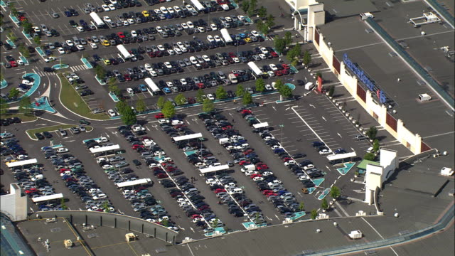 AERIAL, ZI, Parking lot at shopping mall, south of Bordeaux, Aquitaine, France