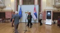 Parliamentary Assembly of Council of Europe President Pedro Agramunt and President of the National Assembly of Serbia Maja Gojkovic hold a press...