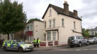 17yearold boy arrested in Thornton Heath ENGLAND London Thornton Heath EXT various of police car and police officers outside house sealed off with...