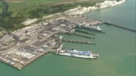 18yearold man arrested in Dover / property raided in Sunbury ENGLAND Kent Dover Port of Dover with PO ferry AIR VIEWS / AEIRIALS police van near...
