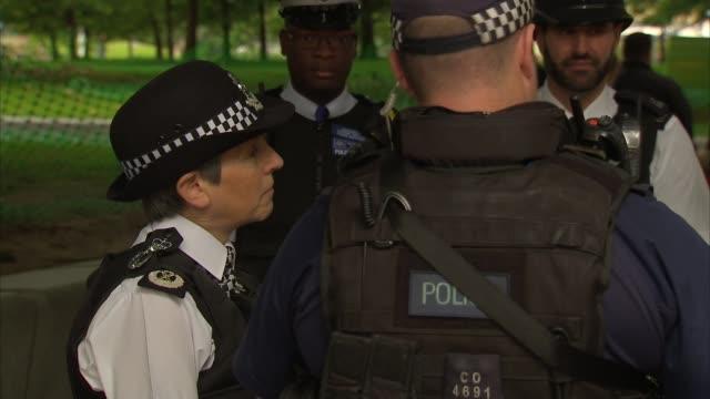 Met Police Commissioner Cressida Dick on patrol ENGLAND London Embankment General views of London Eye / various of Commissioner Cressida Dick...
