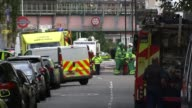 Police arrest second man / security threat lowered 15th September 2017 London Parsons Green Emergency service vehicles parked in the street outside...