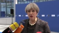 Political reaction / Increase in armed police in London LIB / BELGIUM Brussels EXT Theresa May speaking to press as arriving at summit SOT I will be...