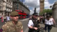 Political reaction / Increase in armed police in London R240517010 / Various shots armed soldiers and police around Houses of Parliament and...