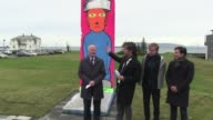 A part of the Berlin wall painted by German artist Jakob Wagner is inaugurated in a park near the former French consulate where the Reykjavik Summit...