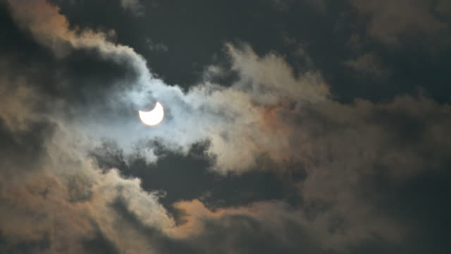 WS Partial solar eclipse with clouds moving  / Judea Desert, Israel