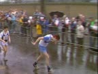 Participant struggles over the finish line of the inaugural London Marathon