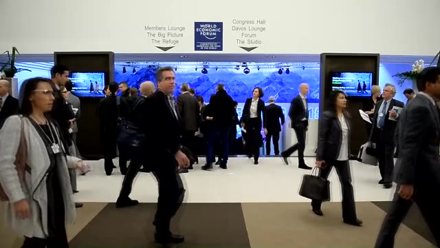 Participants are seen inside Congress Center on the opening day of the 45th Annual Meeting of the World Economic Forum in Davos Switzerland on...
