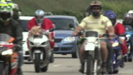 MS Participants riding motorcycle on freeway / Johannesburg, Gauteng, South Africa