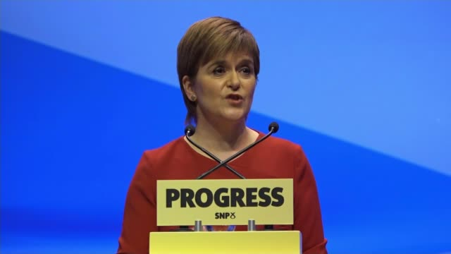 Nicola Sturgeon announces plans for publically owned energy producer SCOTLAND Glasgow INT Various of SNP Leader and Scotland First Minister Nicola...