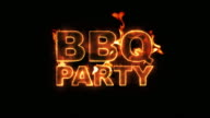 BBQ Party Text on Fire