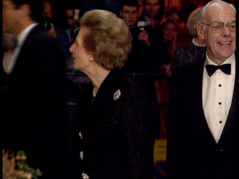 Party to celebrate Thatcher's 70th birthday ITN London Claridges NIGHT MS Lady Margaret Thatcher posing with husband Sir Denis Thatcher ZOOM IN and...