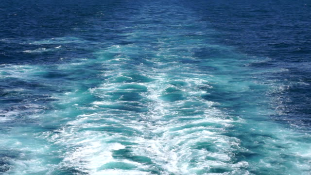 Passenger ferry wake as it travels across the English channel