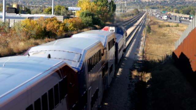 Passenger train utah wide shot
